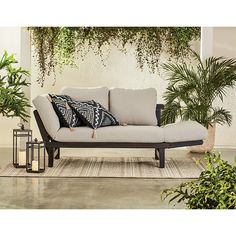 Better Homes & Gardens Delahey Convertible Studio Outdoor Daybed Sofa - Walmart.com - Walmart.com Resin Patio Furniture, Patio Furniture Cushions, Backyard Furniture, Balcony Furniture, Outdoor Furniture Set, Out Door Furniture, Patio Furniture Makeover, Plywood Furniture, Furniture Plans