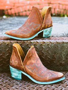 The Liz Cognac Embroidered Dream Bootie by Circle G by Corral Ankle Cowboy Boots, Western Boots, Western Cowboy, Buy Shoes, Me Too Shoes, Aldo Shoes, Women's Shoes, Real Leather, Leather Boots