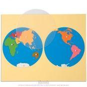 Matériel de geographie Montessori : cartes du monde en bois, planisphère et globe rugueux - Montessori Spirit