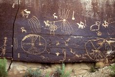 Fremont Area Rock Art, Nine Mile Canyon, by James Q. Jacobs. The recent petroglyphs of horses with riders are much brighter than old prehistoric glyphs. Repatination, like style, is a useful indicator of petroglyph age. Breaking the rock surface and removing the dark mineral patina accreted on the surface reveals the light rock interior. Over time, the process of patination very slowly restores the darker rock surface colour. [Shows repeated use of the site over generations. JE]