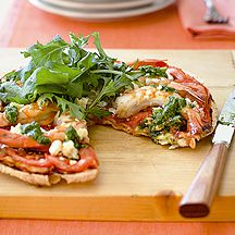 Prawn, Feta and Rocket Pizza. Weight Watchers recipe