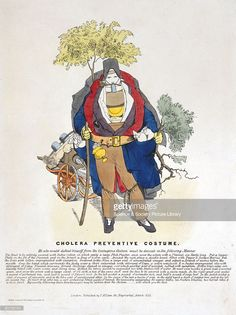Coloured lithograph published by T McClean during a cholera epidemic and showing a man wearing a bulky costume made of useless preventatives, including India rubber, a face mask and juniper berries. The satirical commentary below also recommends the dragging of a small cart containing further items and concludes that 'by exactly following these directions you may be certain that the cholera...will attack you the first�. Cholera first appeared in Britain in 1831, and its relationship with…
