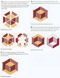Sewing Block Quilts Instruction Page for one block wonder cubes Geometric Quilt, Hexagon Quilt, Quilt Block Patterns, Pattern Blocks, Square Quilt, Quilting Tutorials, Quilting Projects, Quilting Designs, Tumbling Blocks Quilt