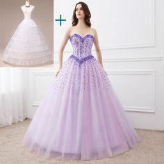 c21e31aacc W magazynie Fioletowy   Różowy   Niebieski Suknie Quinceanera Suknia Balowa  z koralikami Tanie Suknie Quinceanera