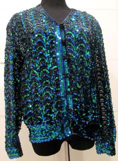 Vintage Sequin Jacket / Blouse by MISSVINTAGE5000 on Etsy