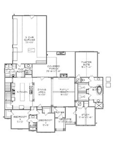 First Floor Plan of Country House Plan 77839. #floorplans #newconstruction