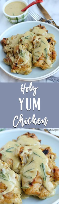 """""""Holy Yum Chicken from www.tablefortwoblog.com will be your new favorite chicken dinner! The sauce is amazing and whomever thinks mustard with sweet maple syrup together couldn't taste good; well, they haven't tried this holy yum chicken yet!"""