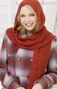 Comfy Hooded Scarf Knitting Pattern  Be ready for the windy cold weather. This hooded scarf features a lovely knit lace pattern that zigzags down its length..  Red Heart Free Pattern - no membership required.