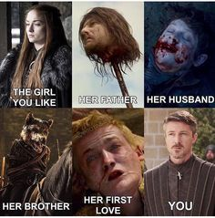 You're next Littlefinger. Apparently, falling in love with a Stark is a terrible luck.