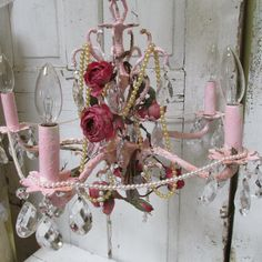 Pink garden roses chandelier lighting crystals embellished distressed shabby cottage romantic up cycled home decor Anita Spero