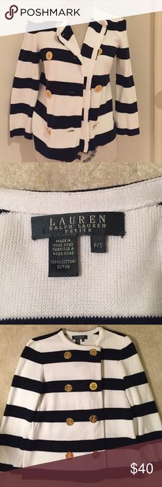 Ralph Lauren Petite Nautical Cardigan Lauren by Ralph Lauren, striped nautical cardigan with gold anchor buttons. Navy/white striped sweater. This sweater is in like new condition with no signs of use. Size, petite small Lauren Ralph Lauren Sweaters Cardigans
