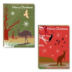 Set of 8 christmas cards with recycled envelopes - 4 x 2 designs