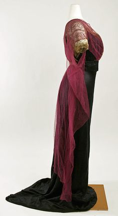 (3/3) Evening dress Callot Soeurs  (French, active 1895–1937) Date: ca. 1911 Culture: French Medium: silk, cotton, metallic thread, metal beads