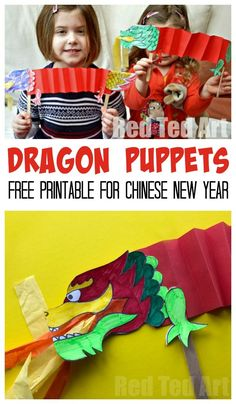 Dragon Puppet Printable. Super easy and fun Paper Dragon Puppets for Chinese New Year! A great Paper Chinese New Year craft for preschoolers. Love these gorgeous paper dragon puppets. #dragon #dragoncrafts #kids #preschool #chinesenewyear Chinese New Year Crafts For Kids, Chinese New Year Dragon, Happy Chinese New Year, Chinese New Year Activities, Chinese Crafts, New Years Activities, Asian Crafts, Literacy Activities, Winter Activities