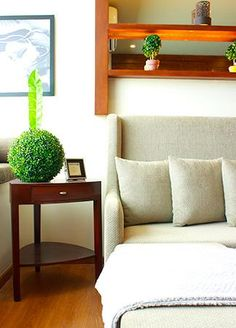 Next to the sofa is a wooden side table topped with a single round topiary.