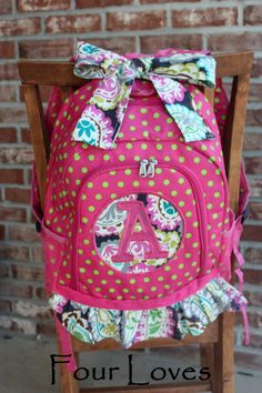 Girls Full Size BackpackPink and by FourLoves on Etsy, $30.00..so cute!!
