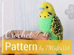 Crochet Yellow budgie with flexible paws and realistic eyes. This Tutorial PDF easy to follow! More than 100 photos!!! Very detailed PATTERN for creating crochet parrot! With this pattern, you can make many different parrots with colorful tail and with realistic eyes. Crochet budgie