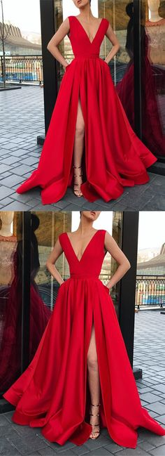 Sexy Plunge V-neck Long Satin Red Prom Dress Leg Split Evening Gowns