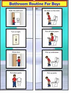 Photo Image Bathroom Visual Schedule For Boys