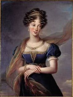 Duchess of Berry, nee Princess Maria Carolina of Naples & Sicily en robe bleu 1824 by Elizabeth Vigee LeBrun. Mother of the last serious Bourbon pretender to the throne, Henri, duke of Chambord. Great granddaughter 2x over of Empress Maria Theresa; parents were double 1st cousins.