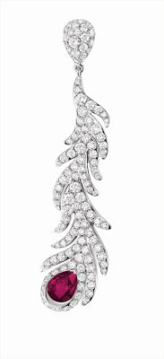 QEELIN 18k white gold earring with diamond pavé and a ruby from the King & Queen collection. | Jewelry News Network