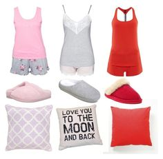 """The Vampire Diaries Elena Gilbert,Caroline Forbes,and Bonnie Bennet Pajamas/Slumber Party Inspired Outfit"" by camemckeith on Polyvore featuring Tempur-Pedic, Hunkemöller, Villa Home Collection, Emporio Armani, Bearpaw, Gilligan & O'Malley, women's clothing, women, female and woman"