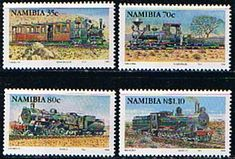 Namibia 1994 Railways Trains Steam Locomotives Set Fine Mint SG 653 6 Scott 770 3 Other African and British Commonwealth Stamps HERE!