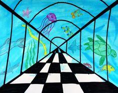 Aquarium Perspective Lesson Art for kids - Leah Newton Art