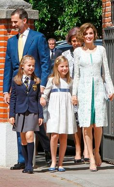King Felipe VI of Spain, Queen Letizia of Spain and Princess Sofia of Spain attend the First Communion of Princess Leonor of Spain (L) on May 20, 2015 in Madrid, Spain.