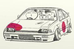 "car illustrationoriginal cartoon ""mame mame rock"" / ©..."