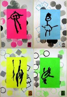 Création d'un bonhomme# en maternelle# PS ou TPS. Choix d'une couleur fluo. Réalisation du bonhomme à la peinture noire. Feuille de fond assortie à la couleur fluo choisie. Fond réalisé avec des tampons mousse géométrique noir, gris et couleur.