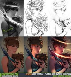 Step-by-Step Tutorial Process: Digital painting with AO by ConceptCookie