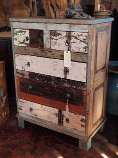 add this patchwork reclaimed wood dresser to your space for an eclectic and vintage appeal houston tx gallery furniture reclaimed wood pinterest