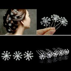 200pcs/lot Starry Sky Flower Clear Crystal Hair Pins Wedding Bridal Hair Accessories Wholesale