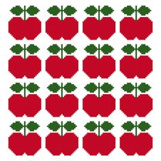 Scandi Apple Cross-Stitch Pattern by Hollie Harris Cross Stitch Fruit, Beaded Cross Stitch, Simple Cross Stitch, Cross Stitch Flowers, Cross Stitch Embroidery, Cross Stitch Patterns, Tapestry Crochet, Crochet Motif, Mochila Crochet