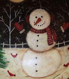 Christmas  Winter Folk Art Hand Painted Vintage by Ravensbend, $18.00