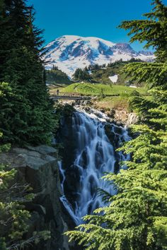 Myrtle Falls in Mount Rainier National Park, Washington, one of the best American national parks for waterfalls.