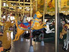 Herschell-Spillman Carousel, Balboa Park, San Diego, California. Built originally in 1910 for Luna Park in Los Angeles. It has a menagerie of hand carved wooden animals, all original, except for two small ponies, the original hand-painted murals surrounding the upper portion of the carousel, and the original military band music.