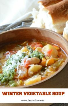 Easy and healthy this winter vegetable soup is packed with flavour and goodness and will nourish and warm you and tastes divine Vegetable Soup Cabbage, Winter Vegetable Soup, Potato Vegetable, Winter Vegetables, Enchiladas, Alfredo Sauce Recipe Easy, Chilled Soup, Vegetable Soup Recipes, Winter Soups