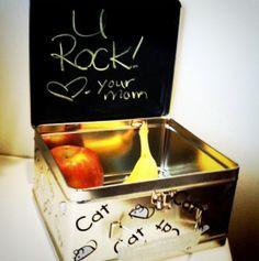 chalkboard paint inside the lunch box