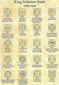 The 44 King Solomon Seals from Israel KIng Solomon Seals Alchemy, Witchcraft, Magick, wicca. Alchemy Symbols, Magic Symbols, Ancient Symbols, Viking Symbols, Egyptian Symbols, Viking Runes, Demon Symbols, Witchcraft Symbols, King Solomon Seals
