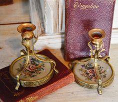 pair antique victorian petit point candlesticks paris flea markets vintage vanity rose cottage