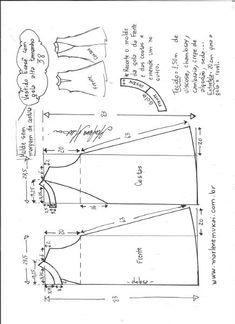 Esquema de modelagem de vestido evasê com gola alta tamanho 38.