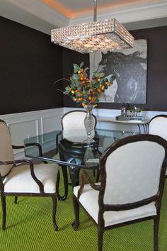 Transitional Dining Room Green Carpet Deep Eggplant Purple Walls White Wainscot Horse