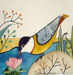 Bird with water lily /Bird Art / sale Original by sublimecolors, $24.99