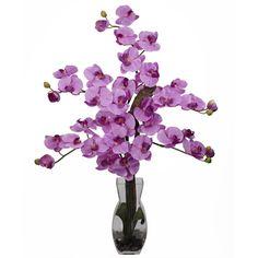 Phalaenopsis with Vase Silk Flower Arrangement