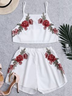 Shorts | White High Waist Floral Patched Cami Suits - Gamiss