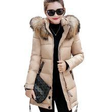 Compre 2016 Nova Coleção De Inverno Mulheres Jaqueta De Inverno Magro Feminino Casaco Engrossar Parka Com Capuz Casacos De Pele De Raposa Gola S XXL