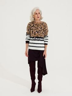 animal print and stripes jumper brown, pink, black and white, Topshop, black dress Topshop, brown dark brown knee length boots Carvela, Kurt Geiger