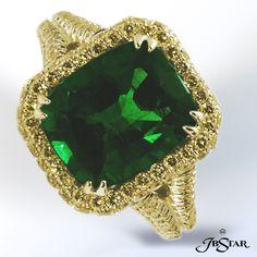 Emerald cut emerald ring with fancy yellow diamond pave.  By JB Star.  Available at Alson Jewelers.